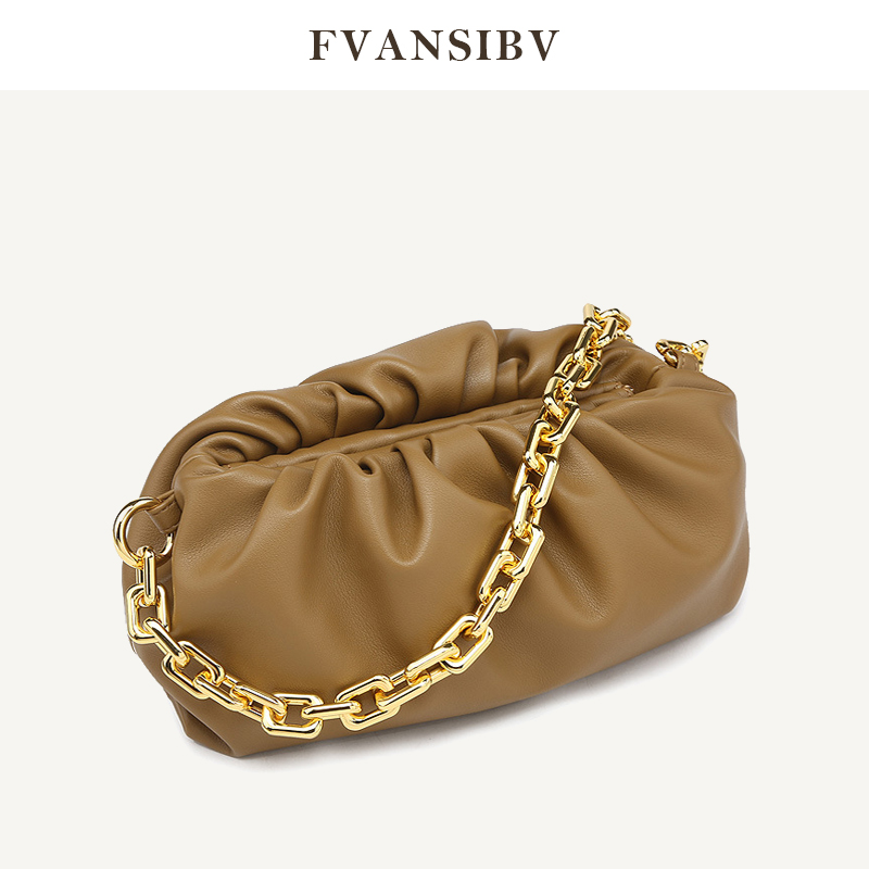 Luxury Brand Women Cloud Bag Gold Chain 100% Leather Soft Shoulder Bag 2020 Spring And Summer New Fashion All-match Handbag Hot