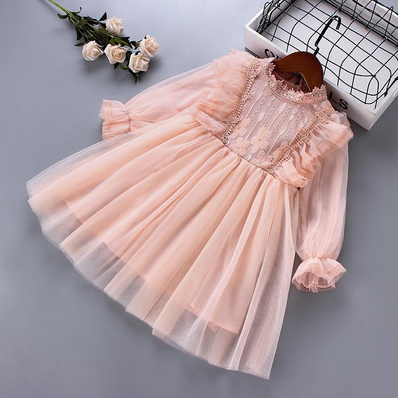 3-7 years High quality girl dress 2020 spring new fashion lace Chiffon draped ruched kid children clothing girl princess dress