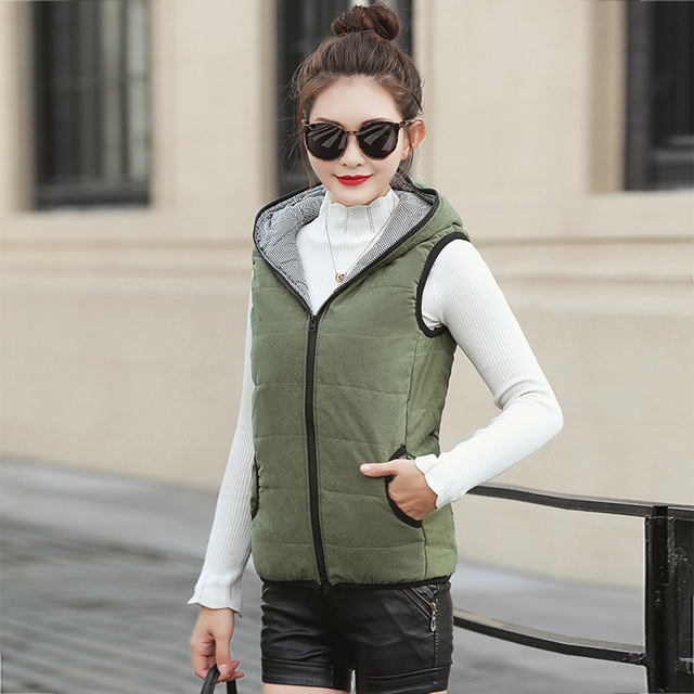 Fitaylor New Autumn Winter Women Vest Cotton Hooded Casual Slim Waistcoat Female Sleeveless Jacket 2