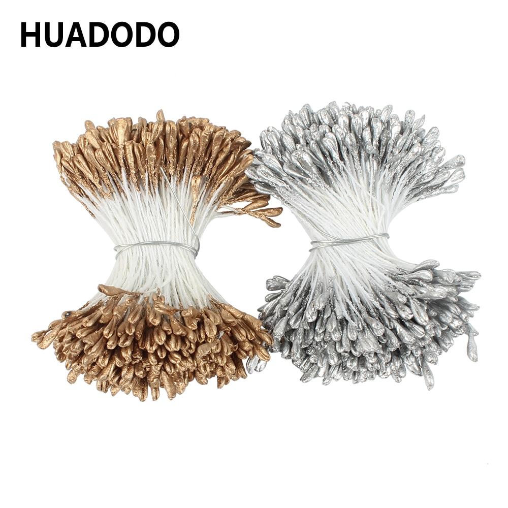 HUADODO 3 мм 300 шт., золотистые/Серебристые искусственные цветы, тычинки для скрапбукинга, DIY аксессуары, рождественское свадебное украшение|Искусственные и сухие цветы| | АлиЭкспресс