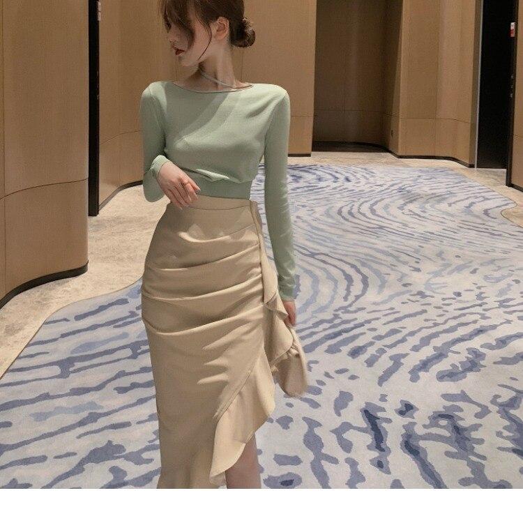 Photo Shoot 2020 Mint Green Knit Low Waist Jersey + Petal Half-length Fishtail Skirt