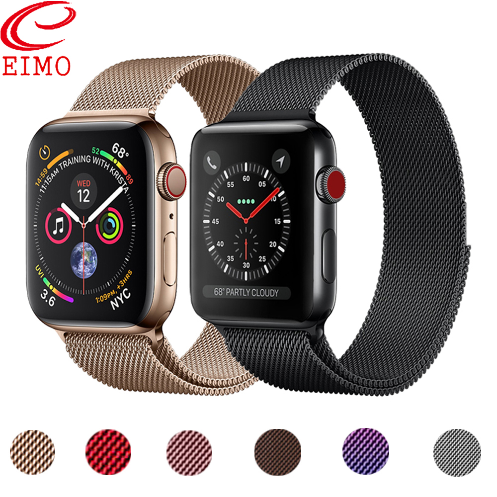 EIMO Milanese Loop Strap For Apple Watch Band Apple Watch Series 5 4 Band 44mm 40mm IWatch 3 2 42mm 38mm Milanese Metal Bracelet