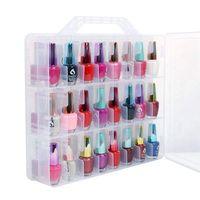 Soporte organizador de esmalte de uñas  organizador de doble cara transparente Universal portátil y estuche de almacenamiento de rosca para 48 botellas Di ajustable Organizadores de maquillaje     -