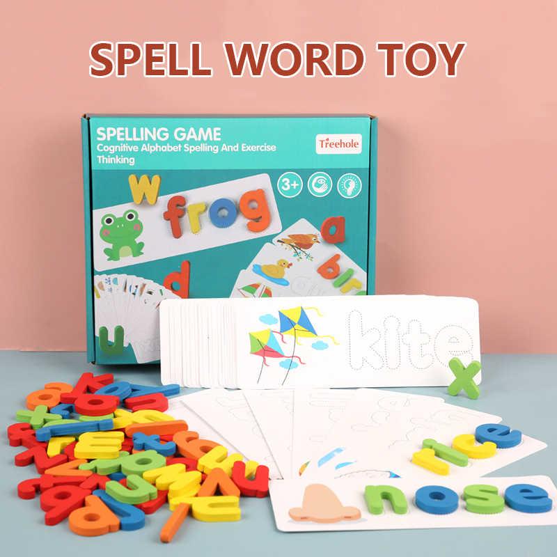 Spell juego de palabras juguetes de madera Aprendizaje Temprano Jigsaw letra de alfabeto puzle Idioma preescolar juguetes educativos para bebés para niños