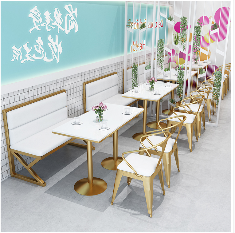 Купить с кэшбэком Table and chair combination of card seat sofa in milk tea shop