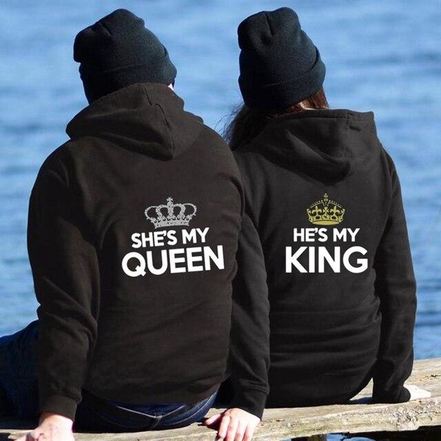 Chritsmas Lovers Couples SHE IS MY QUEEN HE IS MY KING Women Men Lovers Sweatshirt Couple Hoodies 2