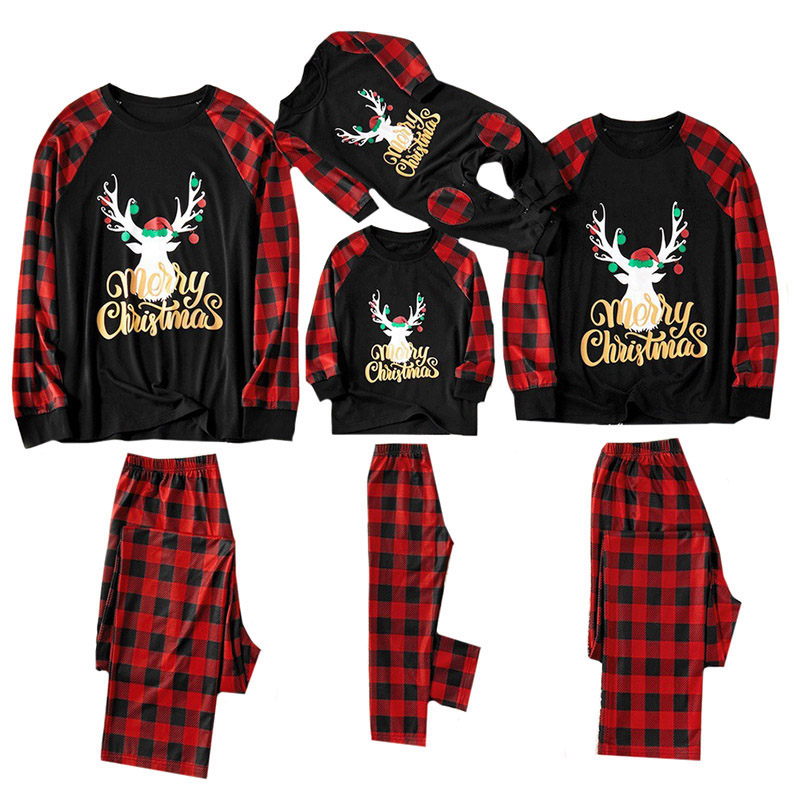 Christmas Family Pajamas Set Christmas Clothes Parent-child Suit Home Sleepwear Baby Kids Dad Mom Matching Family Outfits