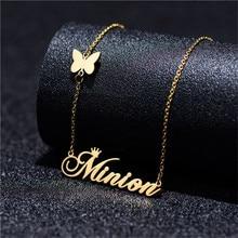 Мода индивидуальные имя кулон ожерелье персонализированные буква бабочка золото колье ожерелье нержавеющая сталь ручная работа подарок