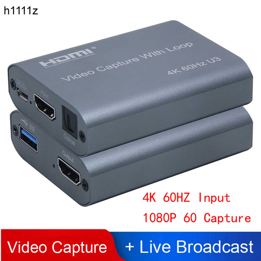 4K 60HZ USB 3.0 Loop Out Audio Video Capture Card 1080P 60fps HDMI Video Grabber Kotak untuk PS4 Permainan Kamera Perekam Live Streaming