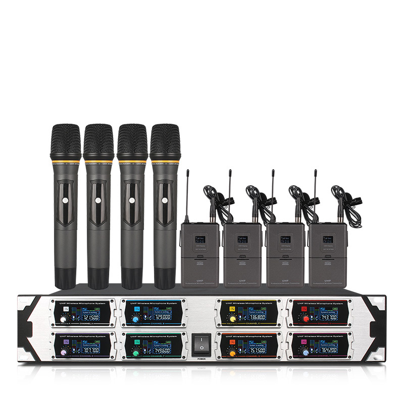 Professional Wireless Microphone System UHF8 Channel Fixed Frequency Dynamic Display 4 Lavalier Microphone 4 Handheld Microphone