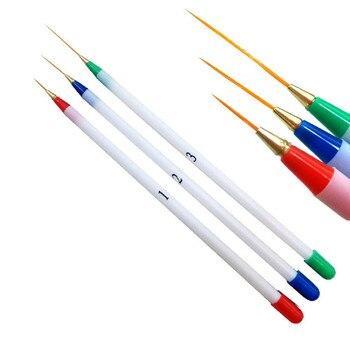 Pincel de acuarelas DIY para manicura, Juego de 3 uds. De pinceles Superfinos para pintar, rayas de pintura y tirar de plástico