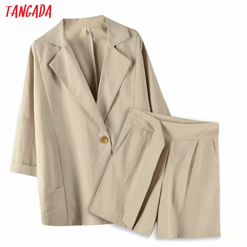 Tangada 2020 Summer Women Khaki Suit Shorts Set Suit 2 Piece Set Loose Blazer And Shorts High Quality 8X02