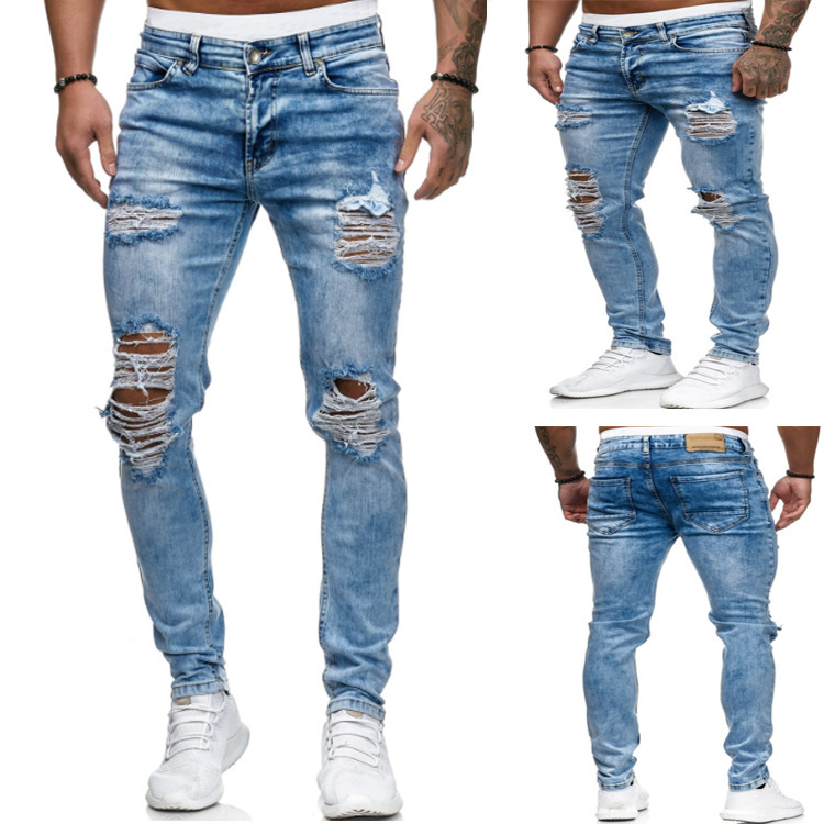 Men's jeans stretch ripped torn design fashionable ankle pants zipper jeans for men plus size jeans