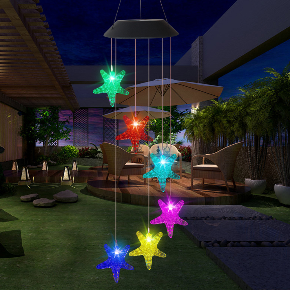 Controlled Night Light Colorful Intelligent Light LED Solar Light Colorful Durable Wind Chime Hanging Lamp Change For Home