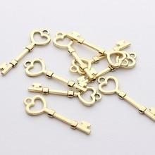 Zink-legierung Charms Anhänger Goldene Herz Schlüssel Charme 6 teile/los 10*35mm Für DIY Schmuck Herstellung Ohrring Zubehör