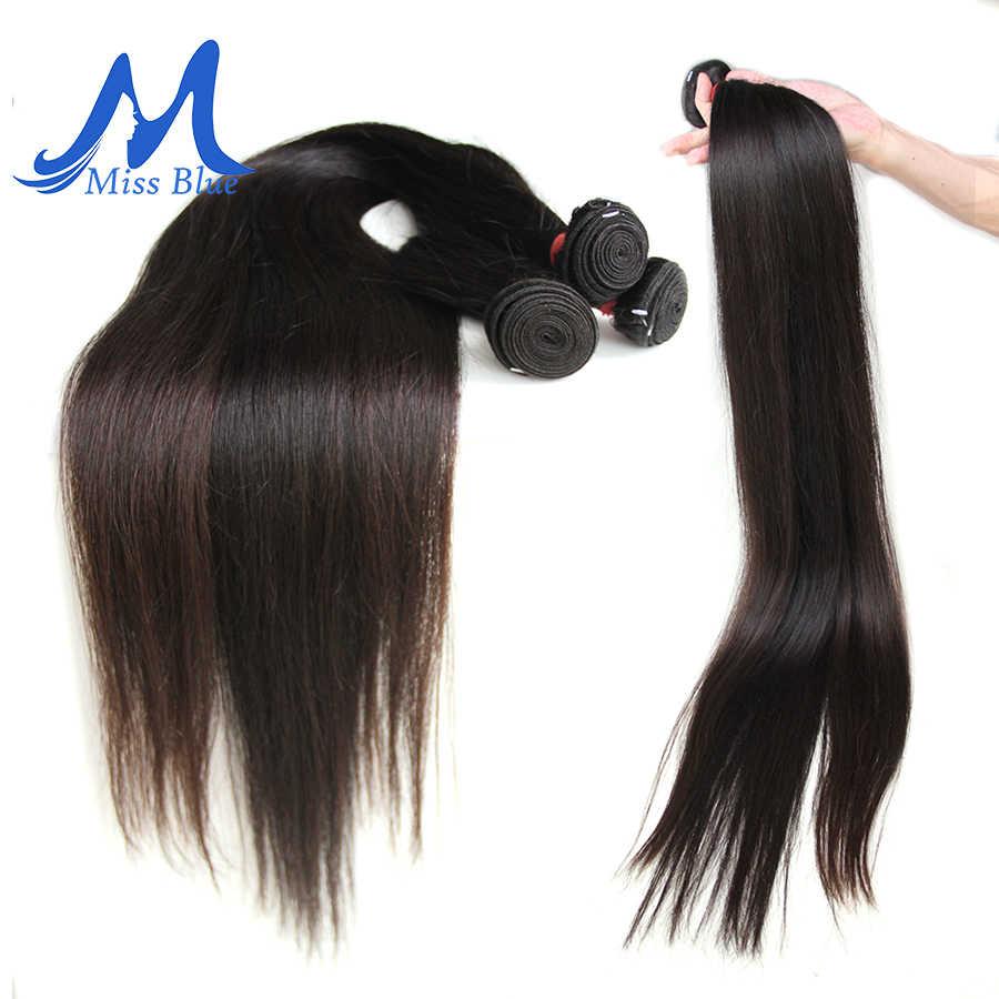 Missblue 30 32 34 36 38 40 شعر برازيلي مقاس بوصة نسج حزم مستقيم 100% الإنسان الشعر حزم تمديدات شعر ريمي اللون الطبيعي