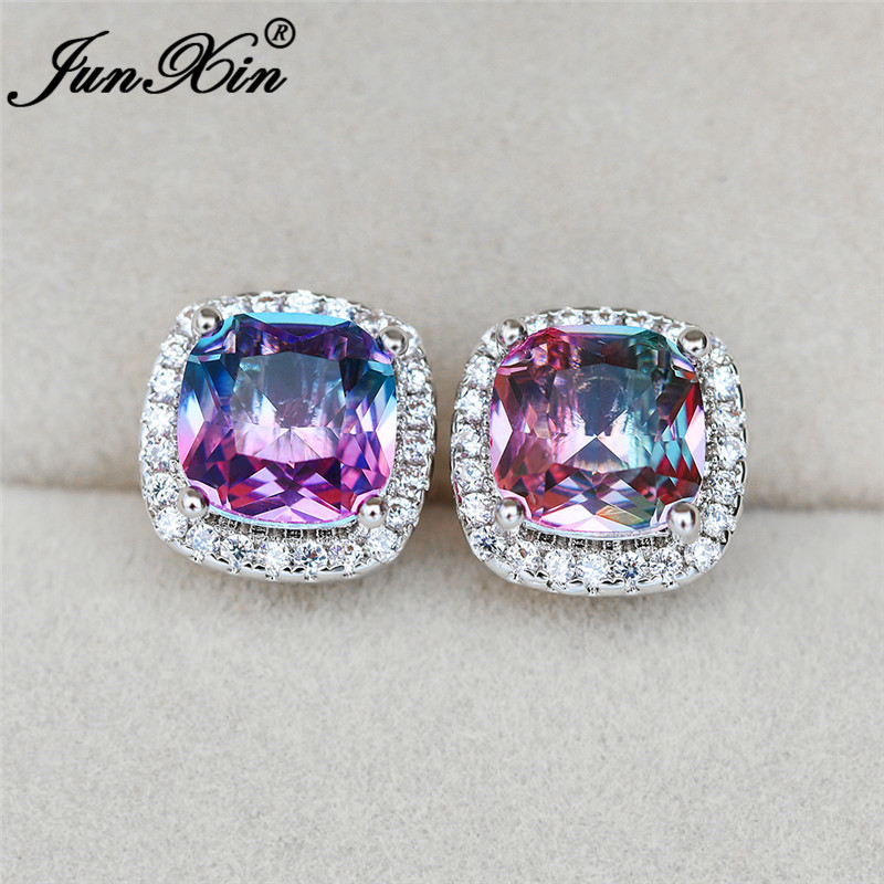 Charm Rainbow Fire Crystal Square Ear Stud Earrings For Women White Gold Rose Gold Colorful Purple Red Zircon Wedding Earrings