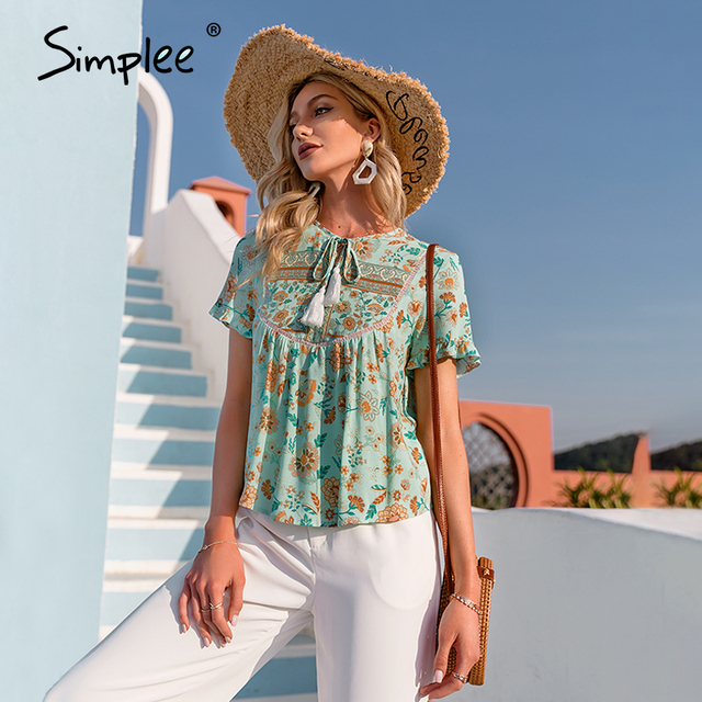 Simplee Ethnic holiday floral print loose women blouse summer Casual bow sash tassel shirts female Ruffled o-neck short top lady 4