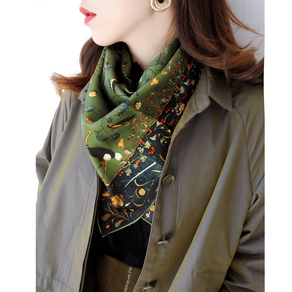 Spring Scenery & Brids Print 100% Twill Silk Scarf Women Ladies Square Silk Scarves Shawl Wraps OL Clothing Accessory