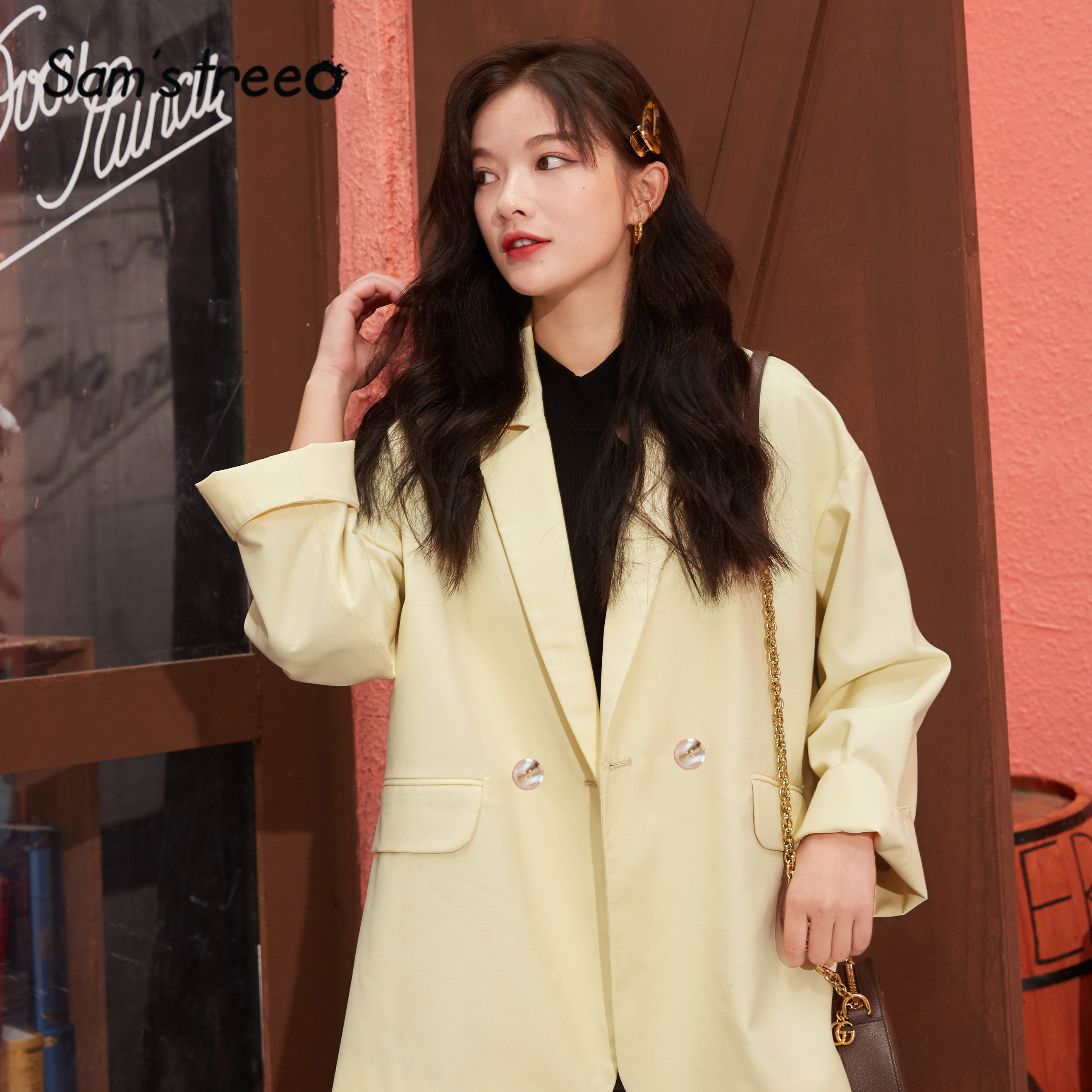 SAM'S TREE Black Solid Double Breated Korean Women Jackets 2020 Spring Apricot Pure Long Sleeve Oversize Ladies Daily Blazers
