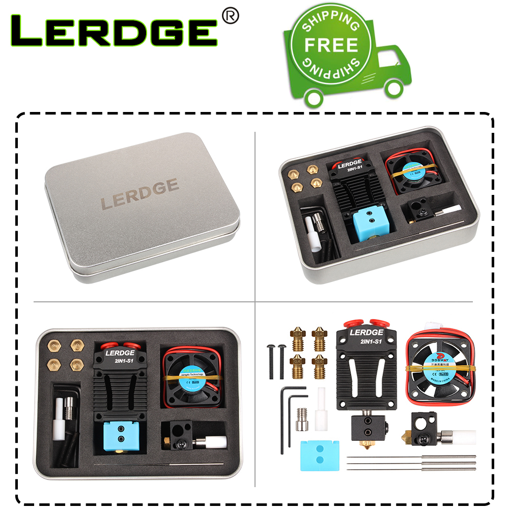 LERDGE 2 IN 1-S1 3D Printer Parts Bowden MK8 Titan V6 Extruder dual hotend Switching 2 colors Multi-Color 0 4 Nozzle Kits