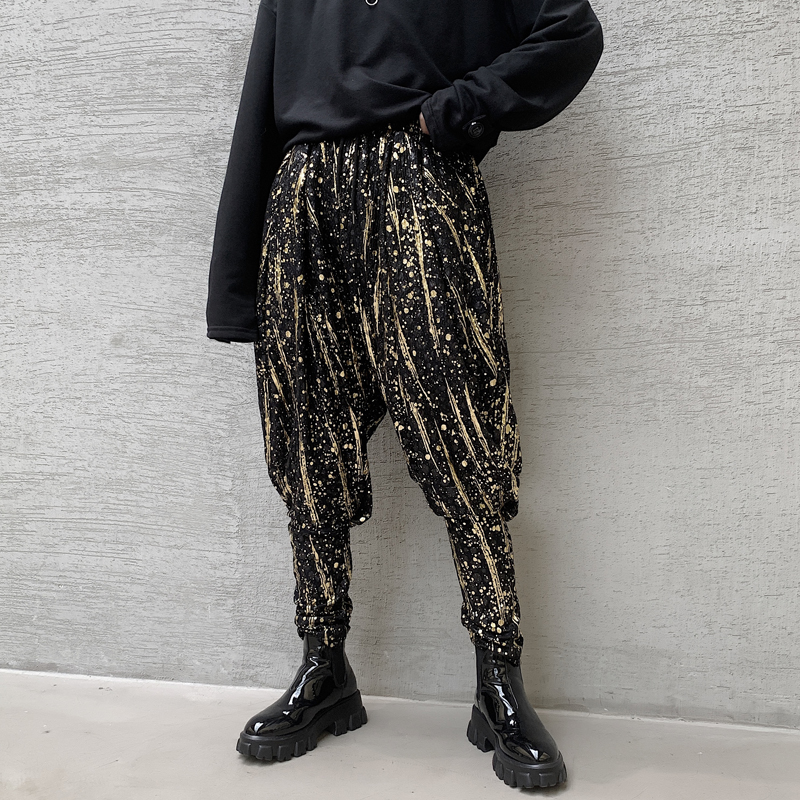 Low Crotch Printed Harem Pants Mens Casual Cross-pants Joggers Hip Hop Dance Trousers High Quality Fashion Personality Color