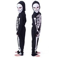 Fantasia de halloween para crianças cosply trajes de máscaras homem e mulher esqueleto fantasma roupas com esqueleto impressão roupas de terror