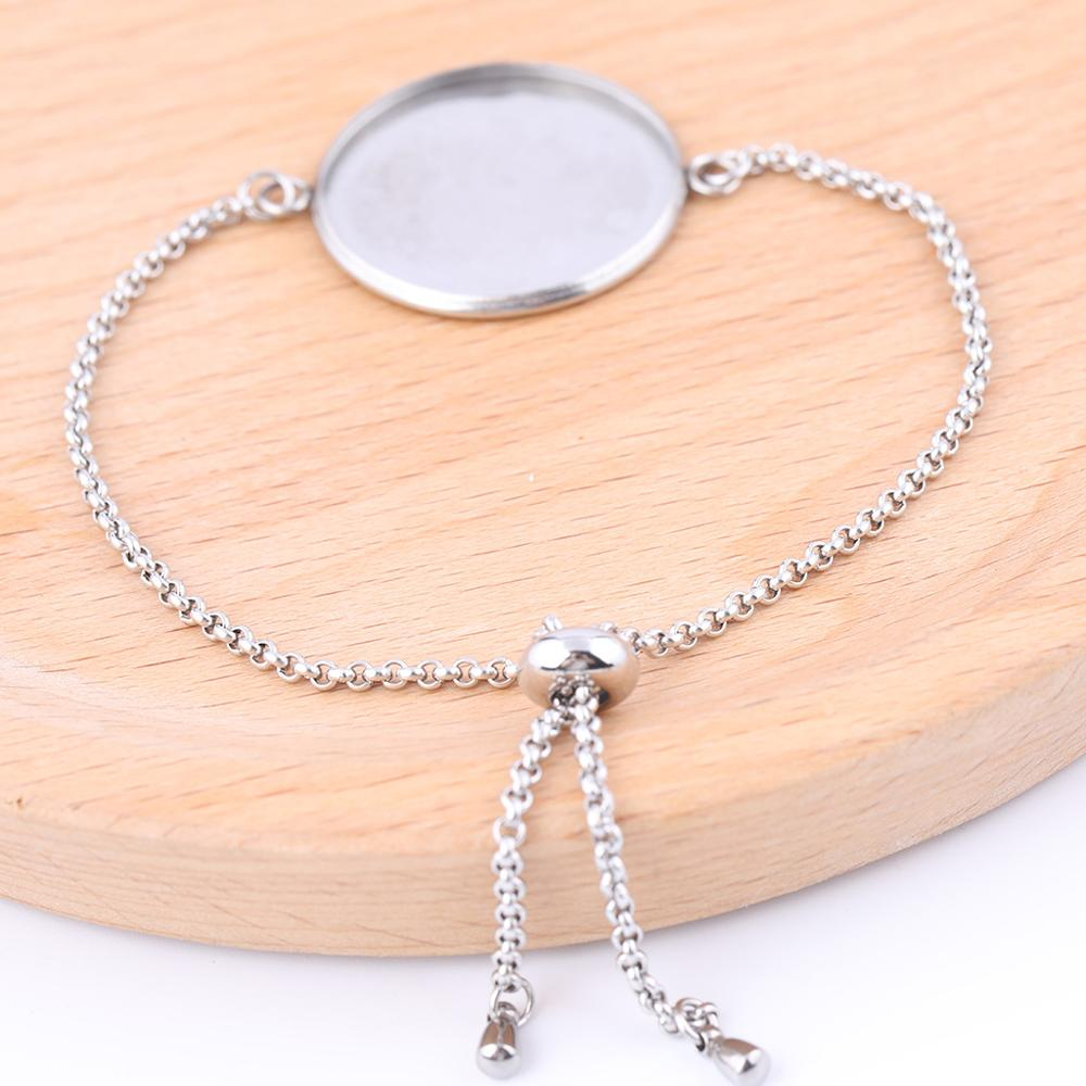 5pcs Stainless Steel Slide Bead Chain Bracelet Setting Blanks 20mm 25mm Cabochon Base Trays Diy Accessories For Bracelets Making