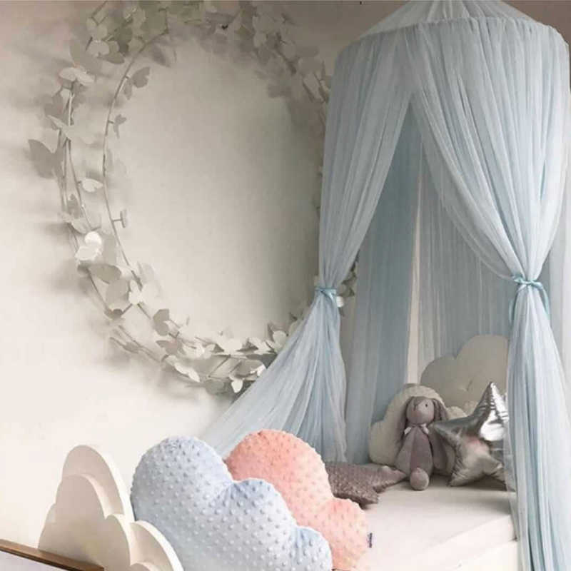 Cotton Baby Room Decoration Balls Mosquito Net Kids Bed Curtain Canopy Round Crib Netting Tent Photography Props Baldachin FJ26