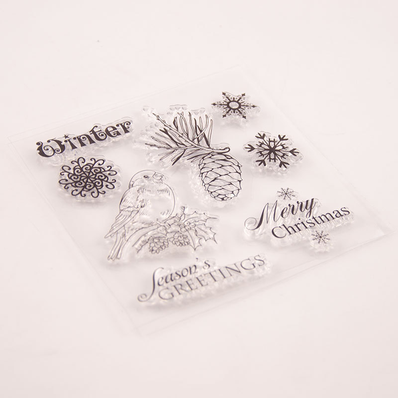 Christmas Clear stamps Transparent Silicone Seal for DIY Scrapbooking Bird Snowflake Stamp Card Making Photo Album Decor Crafts in Stamps from Home Garden
