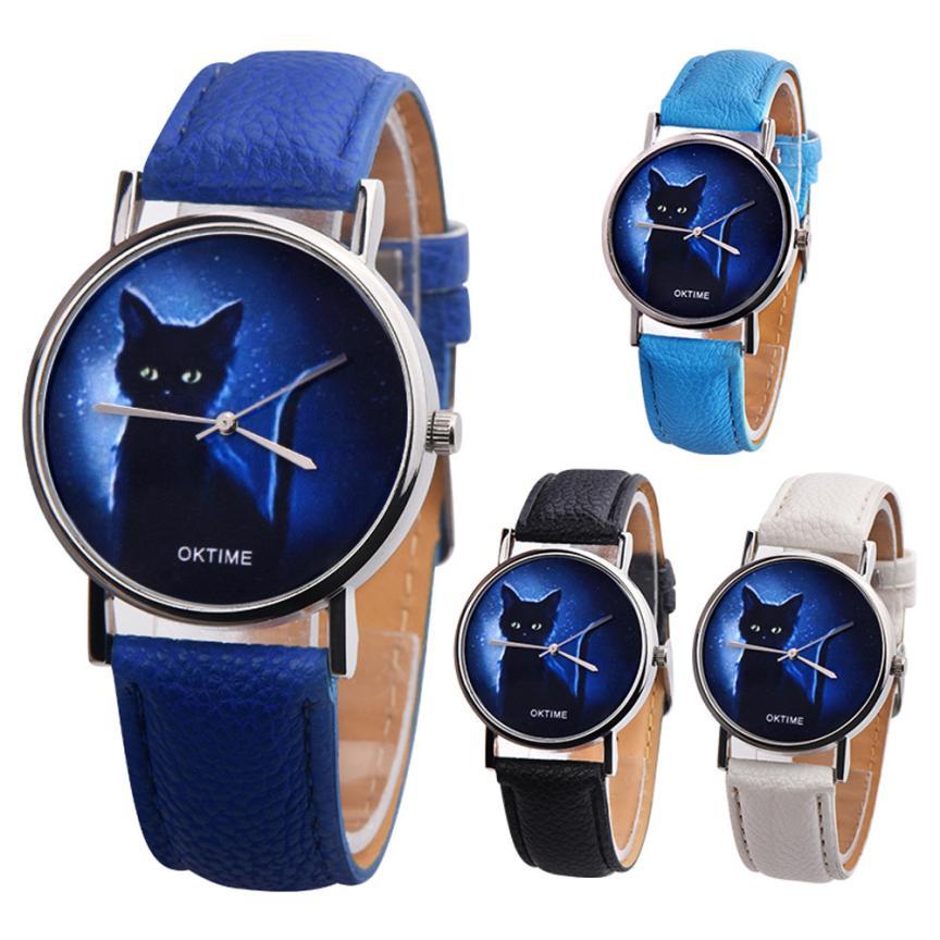 2020 OKTIME Women Mysterious Black Cat Faux Leather Analog Quartz Watch Ladies Watches Top Brand Luxury Casual Clock Women Cat