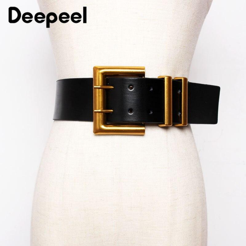 Deepeel 1pc 5.6*100cm Women's Genuine Leather Cummerbund Double Row Metal Square Pin Buckle Belt Female Apparel AccessoriesYK734