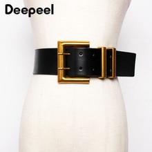 Deepeel 1pc 5.6*100cm Women's Genuine Leather Cummerbund Double Row Metal Square