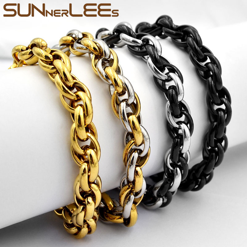 SUNNERLEES Stainless Steel Bracelet 5mm~11mm Oval Rope Twisted Link Chain Silver Color Gold Plated Men Women Jewelry Gift SC31