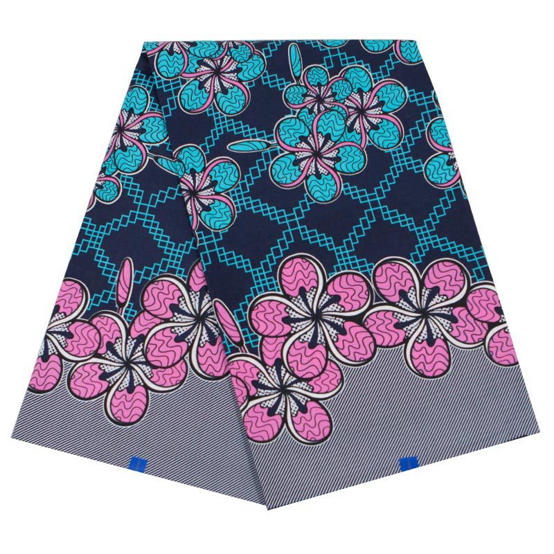 100% Cotton 2020 Fashion Design Blue & Pink Flowers Print Fabric Pagnes 6Yards\lot African Fabric