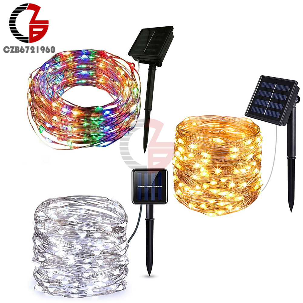 10M LED Solar Light Outdoor 100 Led Copper Wire String Strip Light Fairy Waterproof Cool Warm White RGB For Garden Decoration