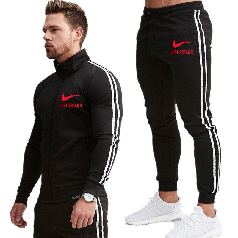 Новинка 2019, модный мужской спортивный комплект с принтом, весенний спортивный костюм с длинным рукавом, толстовка с капюшоном, штаны для