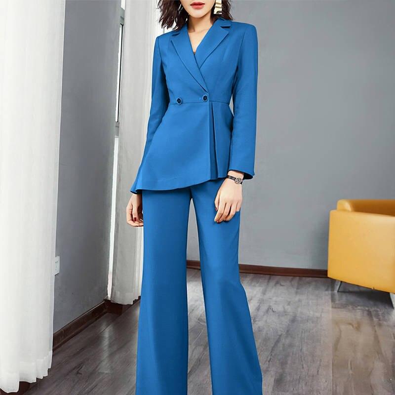Women Suit Formal Blazer & High Waist Pant Office Lady Jacket Pant Suits Femme 2 Pieces Set