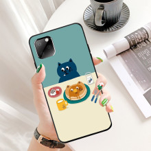 Cat for Iphone11 Pro XR 11Pro Max 8P 7P XS 6 Case Cute Cartoon Illustration Tpu Silicon Black Full Protective Back Cover