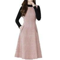 plus size 4XL!autumn winter sleeveless plaid woolen dress women o neck slim tank dress a line