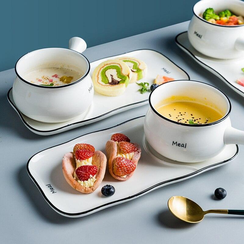 Mode ménagère vaisselle lettre motif sous-glaçure une personne nourriture en céramique vaisselle ensemble maison pain petit déjeuner assiette bol