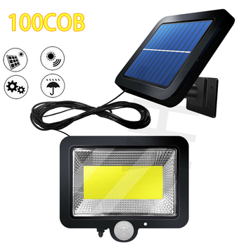 Luz LED Solar para jardín, 100COB, Sensor de movimiento al aire libre, impermeable, para pared, Luces deportivas de calle, lámpara Solar para Exterior