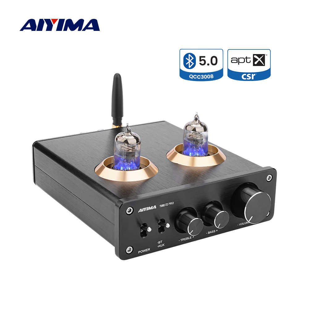 Aiyima APTX Bluetooth 5.0 Preamplifier 6J1 Tabung Vakum Preamp Dual TPA3116 Hi Fi Stereo Amplifier 100Wx2 Home Theater Digital Amp