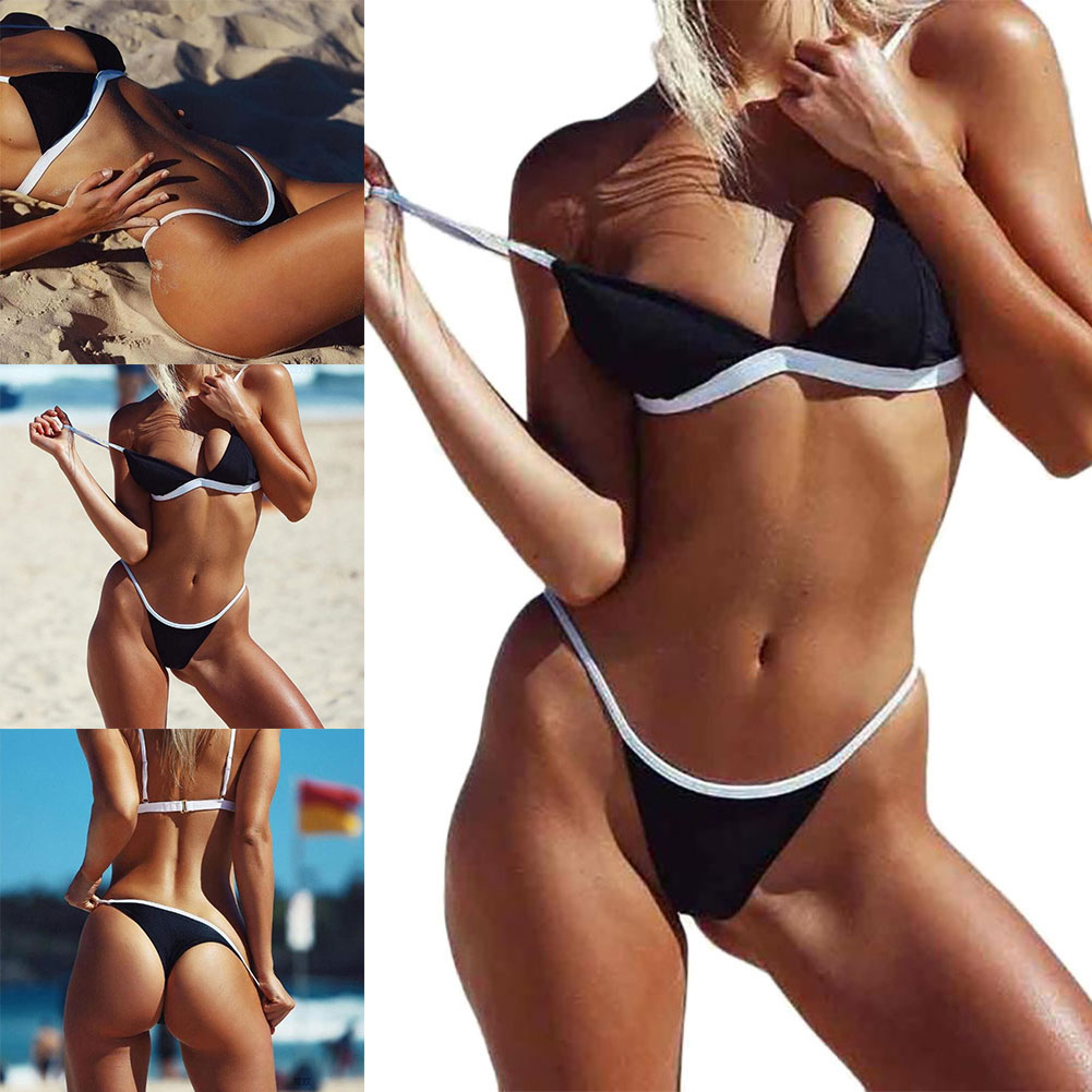 Bathing Suit Women Sexy Beach Solid Set Push Up Pleated Bikinis Women Swimming Suit Swimsuit Bikini Swimwear 4