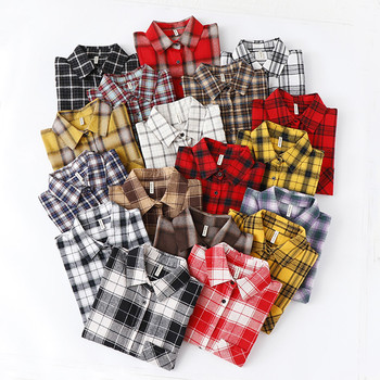 Fashion Women Plaid Shirt Chic Oversized Checked Blouse Long Sleeve Female Casual Print Shirts Loose Cotton Tops Blusas 2