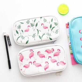 3Colors Kawaii Pencil Case Flamingos Gift School Pencil Box  White/Pink/Blue Pencil Bag For School Stationery Art Supplies 2018 creative kawaii metal flamingos pencil case bag office