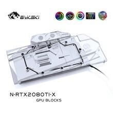 Bykski su bloğu kullanımı NVIDIA GeForce RTX 2080Ti/2080 kurucuları Edition 11GB GDDR6/referans baskı/ tam kapak bakır blok