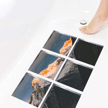 6 pçs à prova d3d água 3d banheira adesivo não deslizamento criança crianças chuveiro banho esteira auto adesivo banheira banheiro decalque pvc mural decoração da sua casa