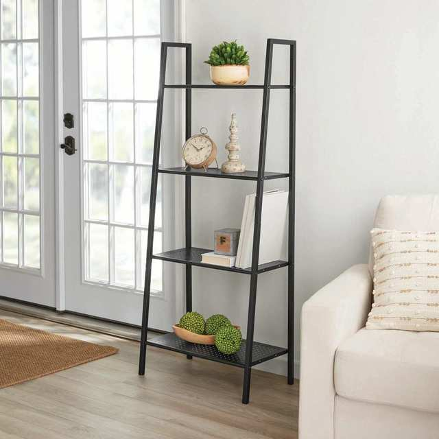 4 Tiers Wall Leaning Ladder Shelf Bookcase Bookshelf Storage Rack Shelves Storage Stand Unit Organizer for Office Home Bedroom 1