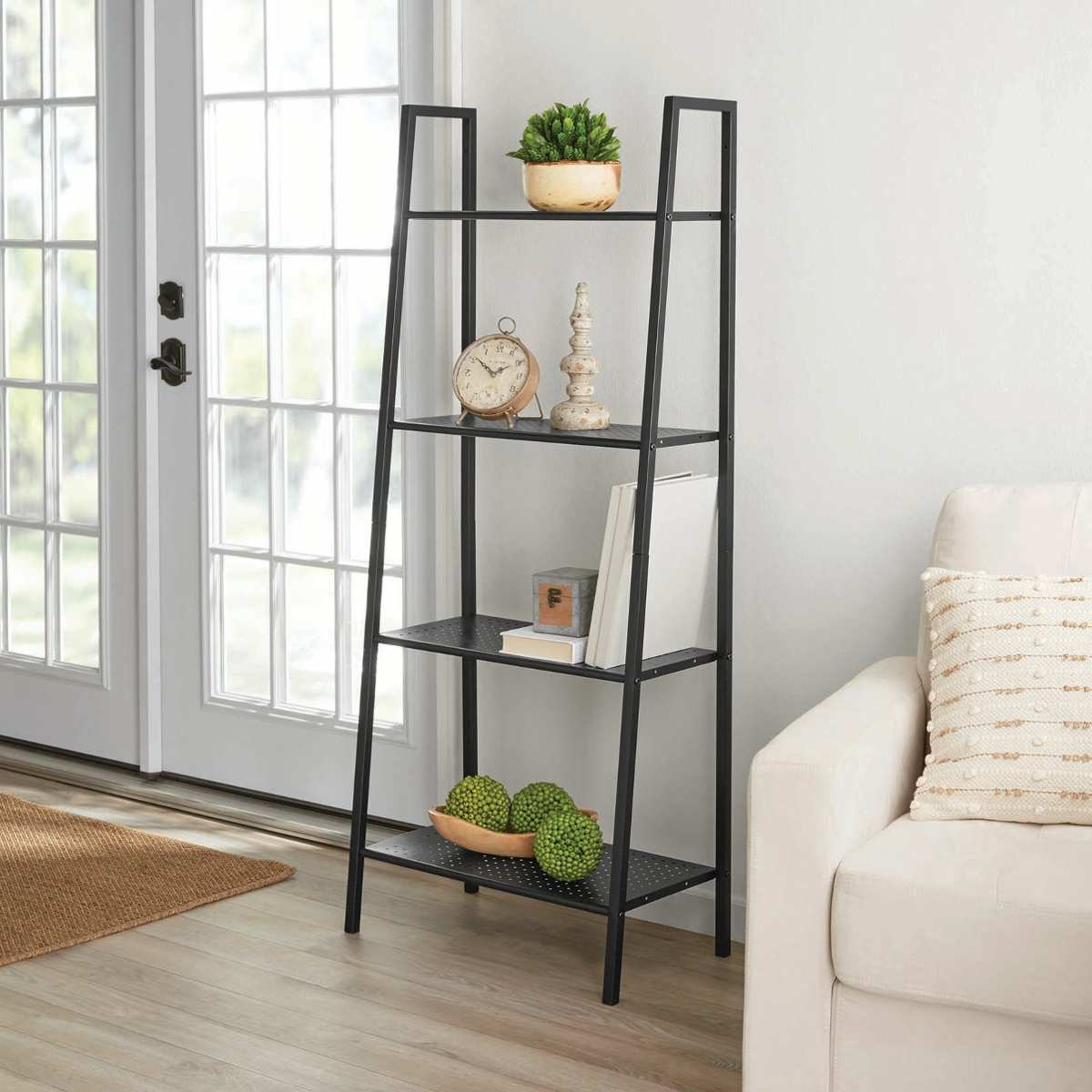 4 Tiers Wall Leaning Ladder Shelf Bookcase Bookshelf Storage Rack Shelves Storage Stand Unit Organizer for Office Home Bedroom